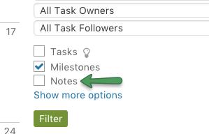 Filter notes