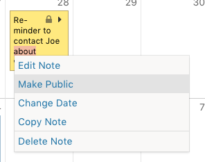 Change note visibility