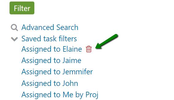 Delete saved task filter