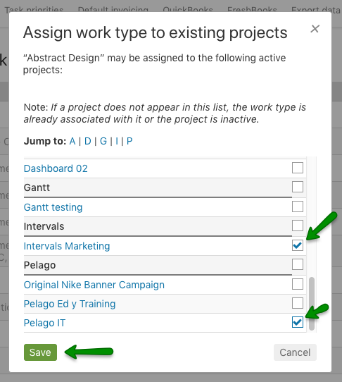 Select existing project dialog