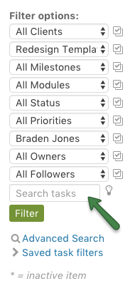 Search tasks input field