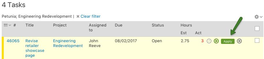 Task list running timer