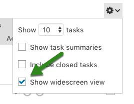 Task list widescreen option