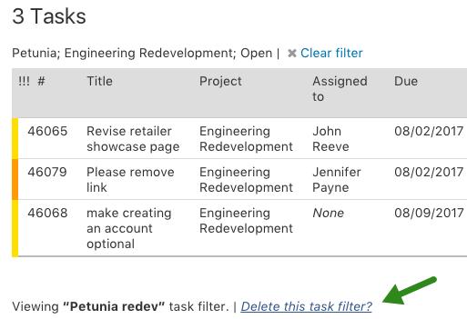 Update task list filter