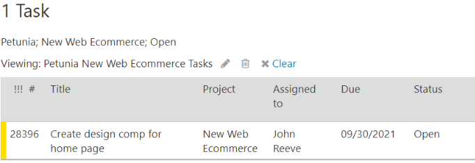 Saved view task listing