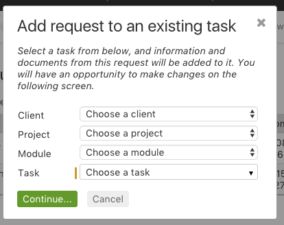 Add request to task dialog