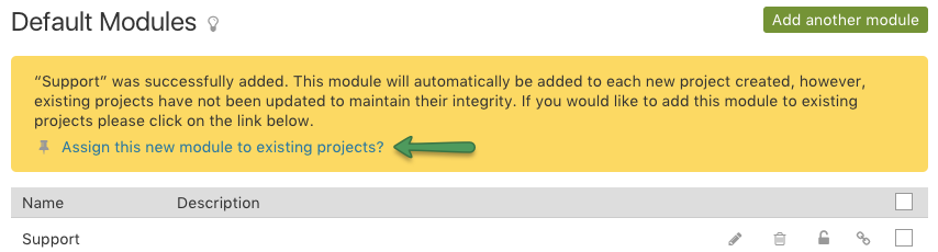Assign module to projects prompt