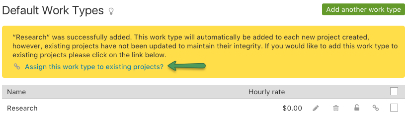 Assign worktype to existing project