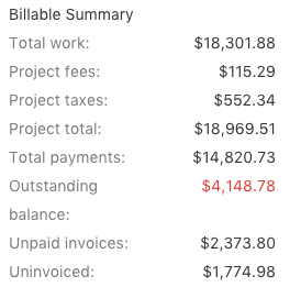 Billable Summary