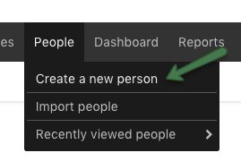 Create person menu