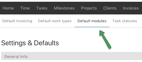 Default Modules menu