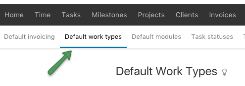 Default work type menu