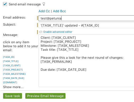 Send email from task