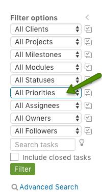 Filter priorites