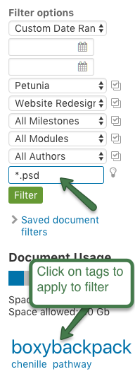 Filter document search