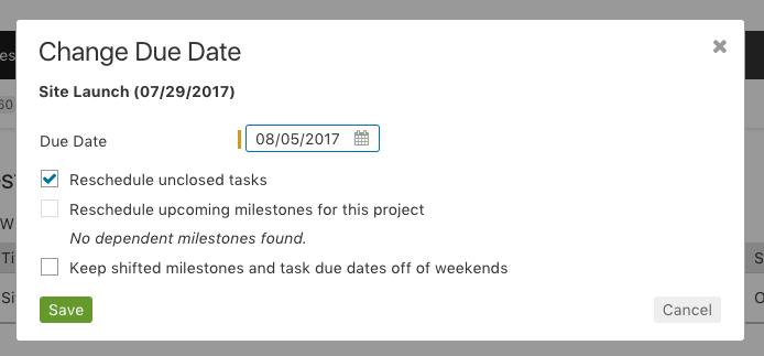 Milestone - reschedule task prompt