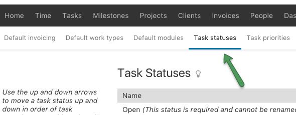 Task Statuses menu
