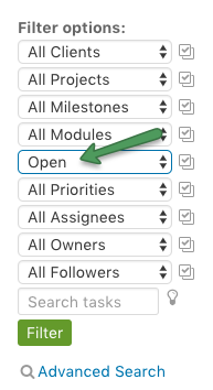 Task status on filter