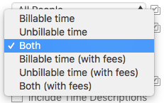Billable time filter