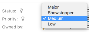 priority dropdown