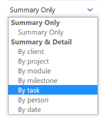 Project Activity Report Data Selector