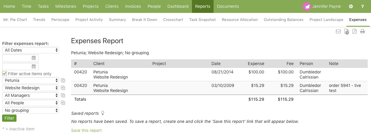 Expenses Report from Dashboard