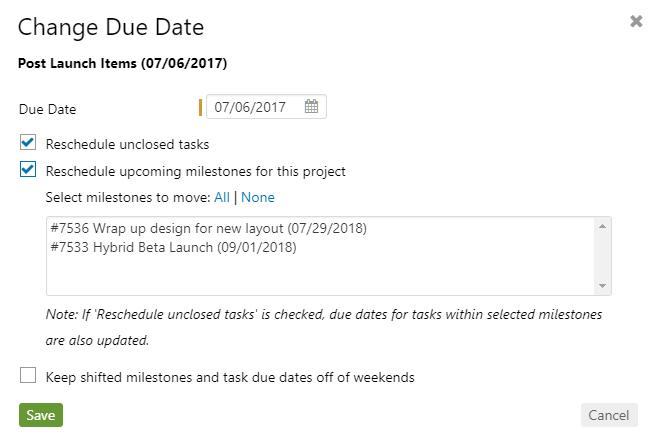 Calendar-Reschedule milestone