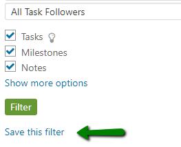Homepage filters