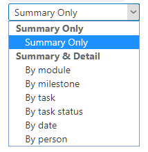 Summary Only drop down