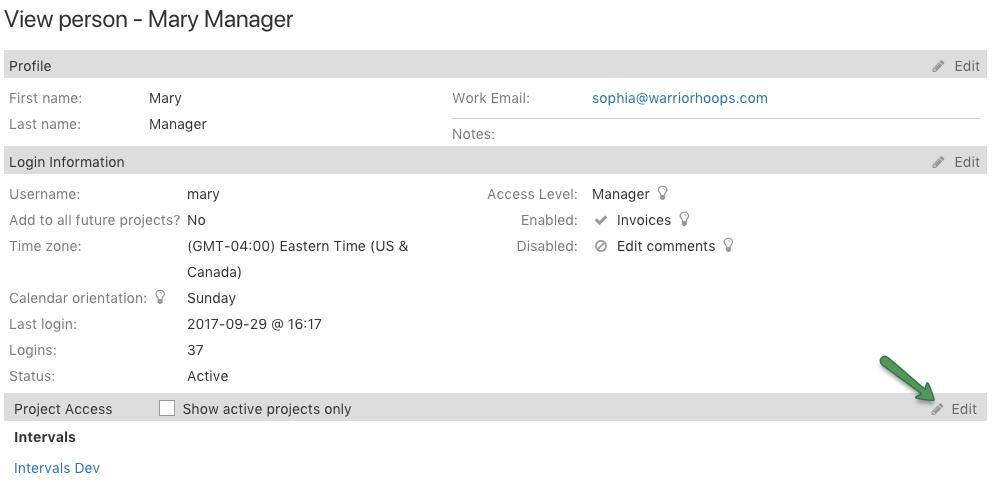 Edit user project access