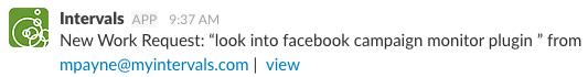 Slack notification from Intervals