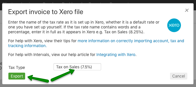 Export Xero with tax