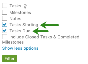 Show tasks by start and due date