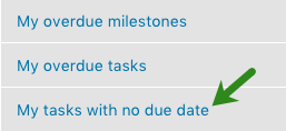Tasks with no due date