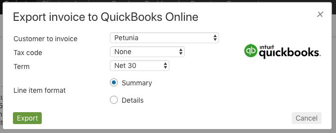 Export invoice to QuickBooks