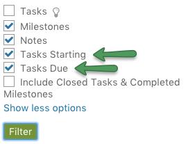 Calendar - Filter on Tasks