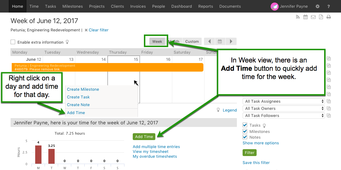 Add time in Week view from home page