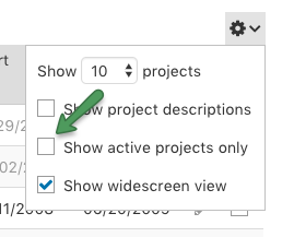 Show all projects option