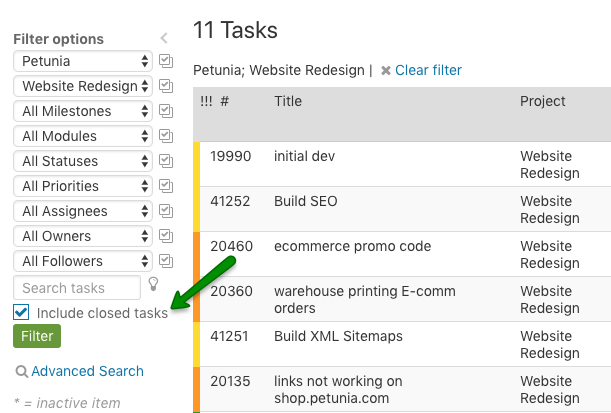 Include closed tasks