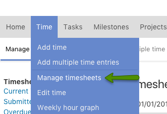 Manage timesheet menu