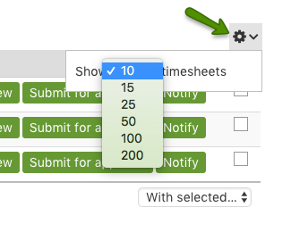 Show number of timesheets