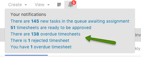 Timesheet notifications