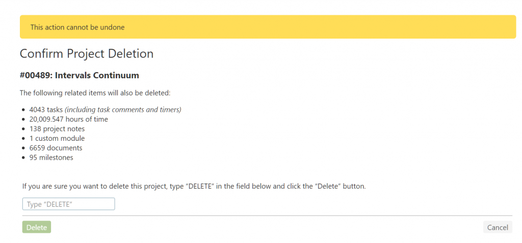 Delete Project Confirmation
