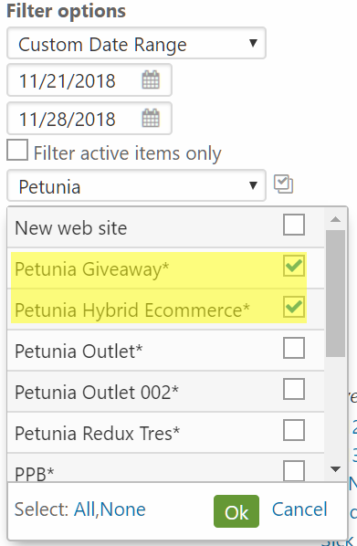 Select inactive items for reports