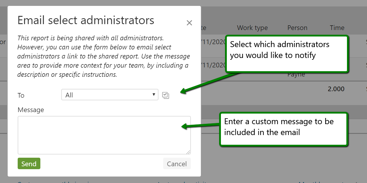 Select administrators and write a message