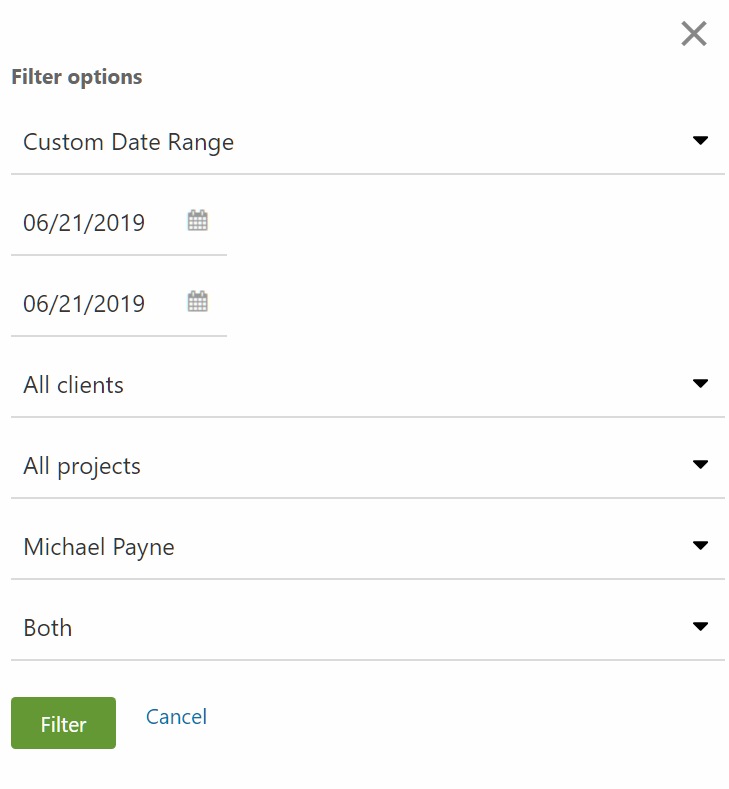 Edit Time Filter