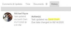 Task Action History Gantt