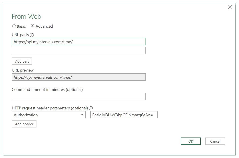 Excel API Settings