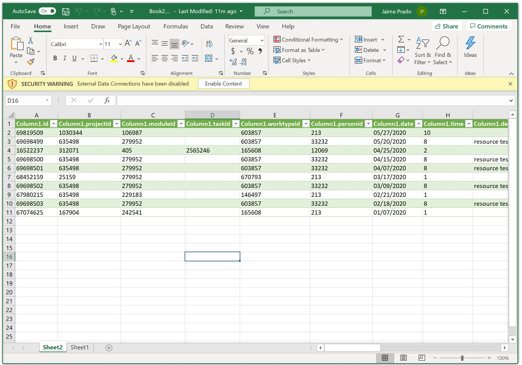 Intervals API Data Into Excel Table