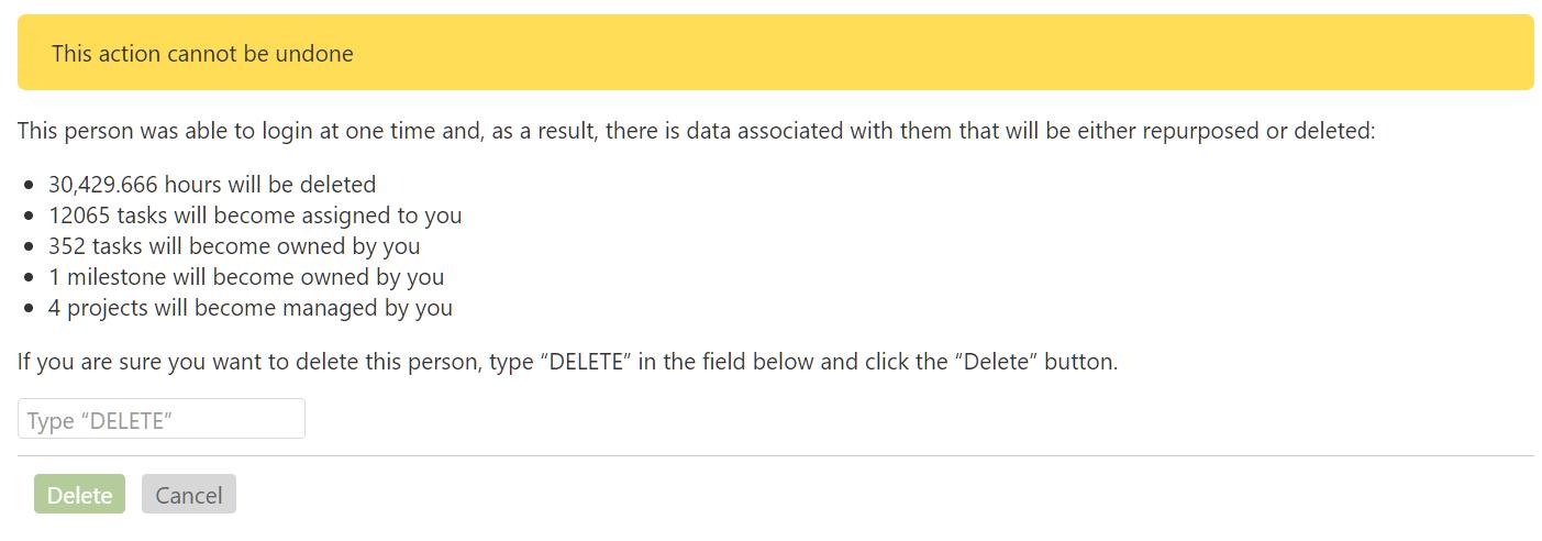 Delete Person Confirmation